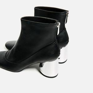 Zara Boots with Chunky Silver Heel.